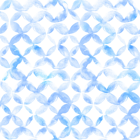 Geometric ornament of blue petals on white background. Watercolor seamless pattern.