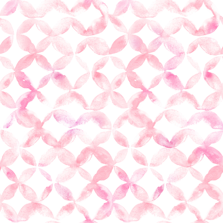 Geometric ornament of pink petals on white background. Watercolor seamless pattern.