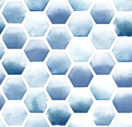 Hexagon pattern of blue colors on white background. Watercolor seamless pattern.