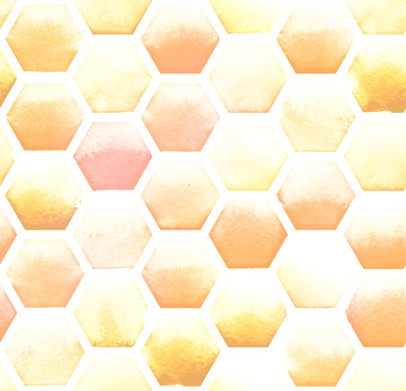 Hexagon pattern of yellow colors on white background. Watercolor seamless pattern.
