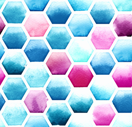 Hexagon pattern of blue and magenta colors on white background. Watercolor seamless pattern