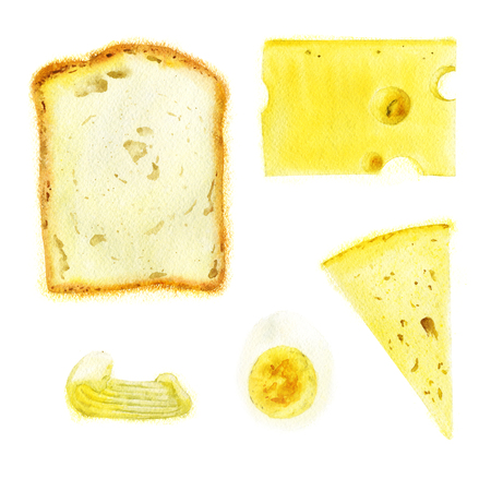 Bread, cheese, butter and egg for sandwich. Watercolor illustration.