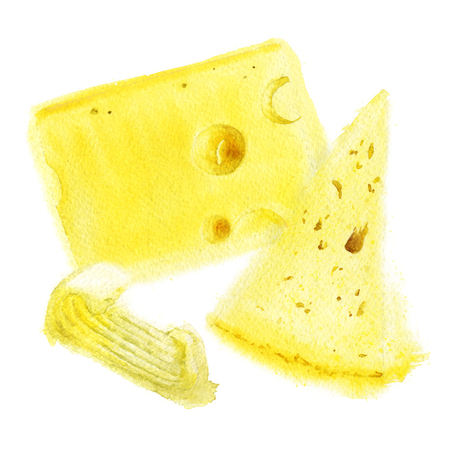 Cheese and butter on white background sandwich. Watercolor illustration