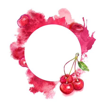 Cherry and juicy splash on white background. Hand-painted watercolor template.