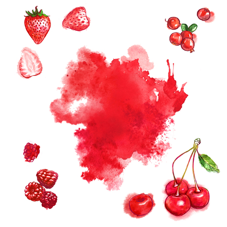 Red berries and juicy splash on white background. Hand-painted watercolor illustration set.