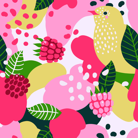 Raspberries and birds on abstract background. Vector seamless pattern.