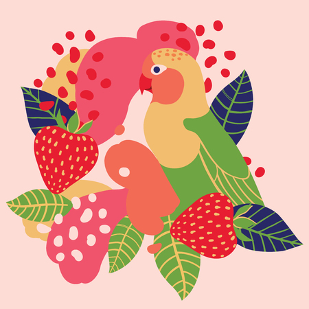 Strawberry and parrot on abstract background. Vector seamless illustration.