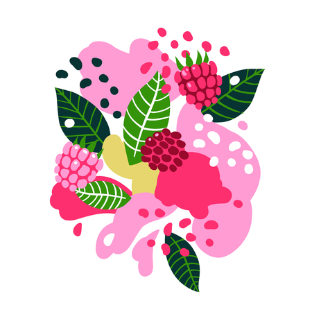 Raspberries and birds on abstract background. Vector seamless illustration