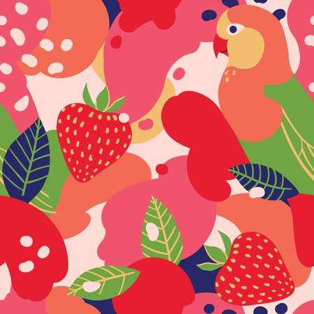 Strawberry and parrot on abstract background. Vector seamless pattern