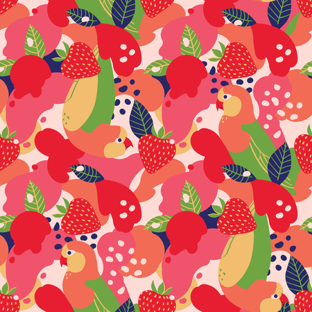 Strawberries and parrots on abstract background. Vector seamless pattern