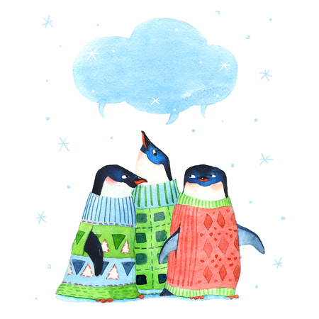 Watercolor cute penguins with snowflakes on a white background. Hand-painted illustration for Happy New Year and Merry Christmas card Zdjęcie Seryjne