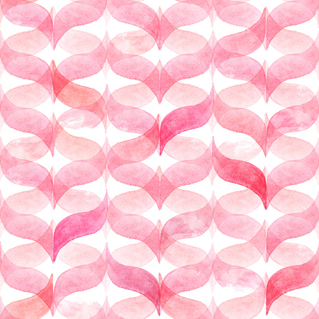 Watercolor light pink background with curved wavy gingham. Geometric seamless pattern for fabric
