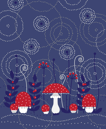 Toadstools in a magical forest on blue abstract background. Vector illustration. Ilustracja