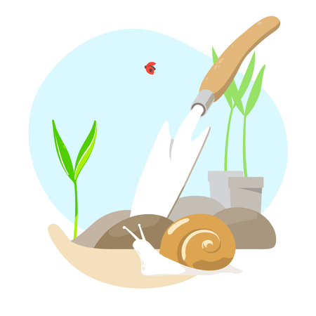 Planting sprouts in ground and shovel. Vector illustration.