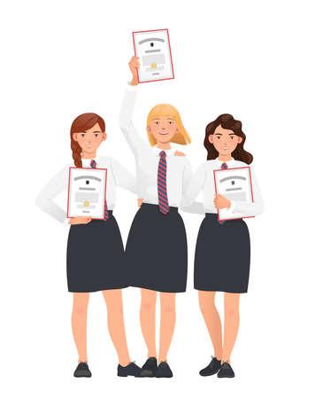 School awards ceremony. Happy students, pupils, school girls in uniform with diplomas in their hands. Flat vector illustration