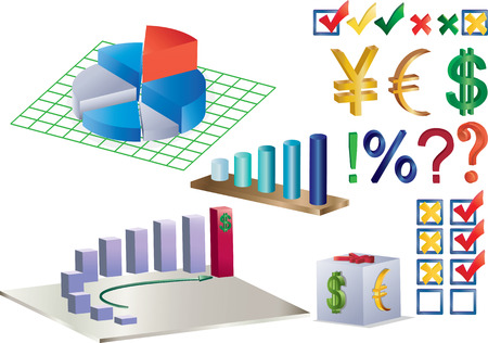 combination: combination of charts, diagrams and currency signs