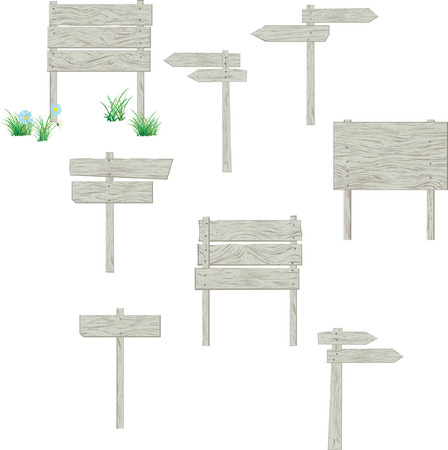 A collection of vector blank wooden signposts for your own text. Easy to edit, manipulate or resize. Plus bonus: flowers and grass  Vector