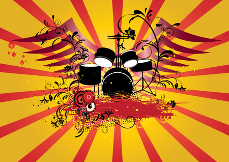 Grunge background with drums set and banner