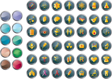 A set of medical and hospital related icons/buttons.  Easy to edit, manipulate or resize. Plus bonus:extra ten colors of backgrounds of buttons Stock Vector - 4638835