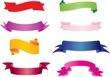 fully: 64 banners set: 8 colors and 8 styles in one file. Fully editable, easy color change Illustration