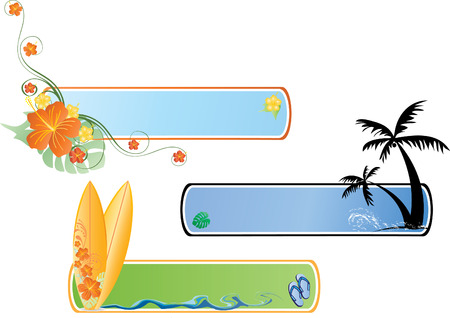 manipulate: there is surf banners with palm treesand  Hibiscus flowers. Easy to edit, manipulate or change colors Illustration