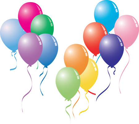 eleven colorful balloons with curly ribbons in vector format.