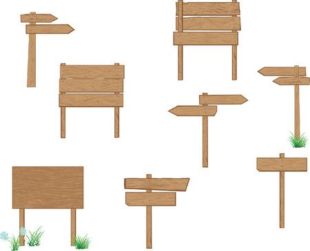 wooden post: Una colecci�n de se�ales de vectores en blanco de madera para su propio texto. F�cil de editar, manipular o cambiar el tama�o. Adem�s un bono de: flores y el c�sped
