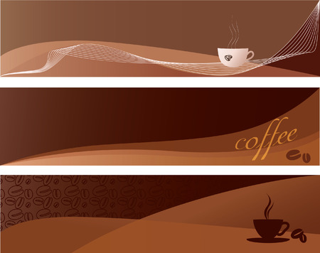 Three separate coffee banners or backgrounds with stylized cups and steam