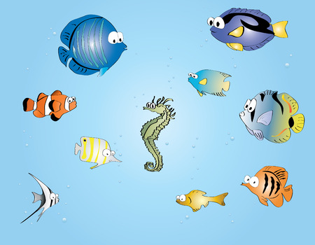 ector illustration of  funny and crtoon fishes Illustration