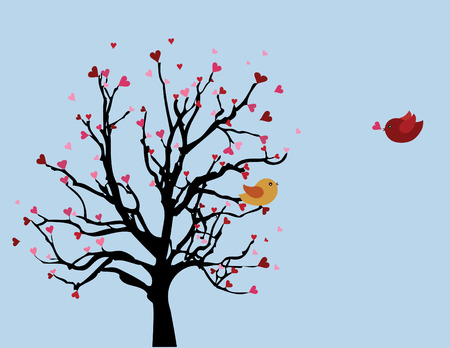 two small birds at the tree. Spring love time. Vector background