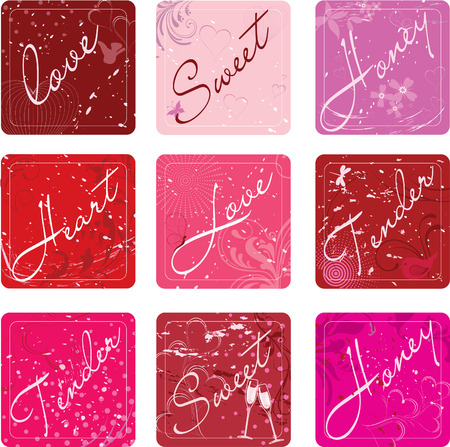 set of nine sweet valentines stickers