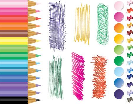 rainbow pancils, stirers, tacks and hand draw pencil textures
