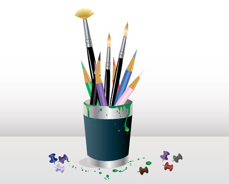 paint container: art supplies in a blue jar with paint stains