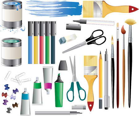 Huge set of paint accessories. Stock Vector - 9034827