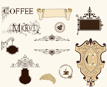 variety of menu headpieces, panels and ornate design elements  向量圖像