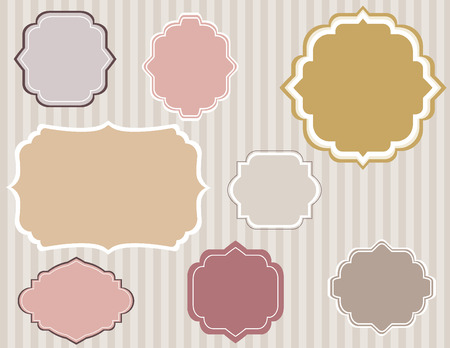 Set of Vintage frame and label shapes on old fashion srtiped background   Illustration