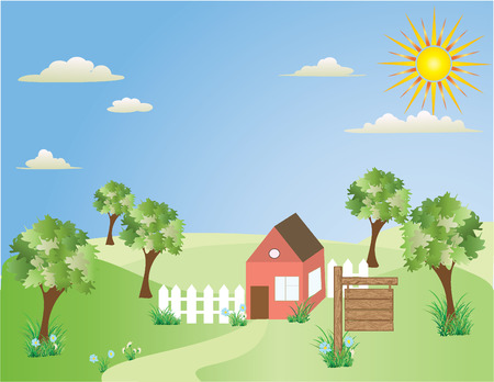 Illustration on home for sale drawer by child Vector