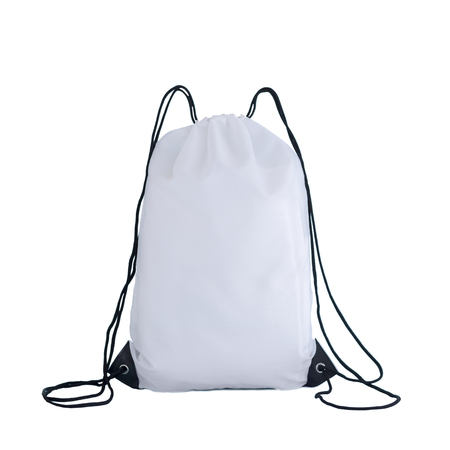 White drawstring pack template, bag for sport shoes isolated on white, sport concept
