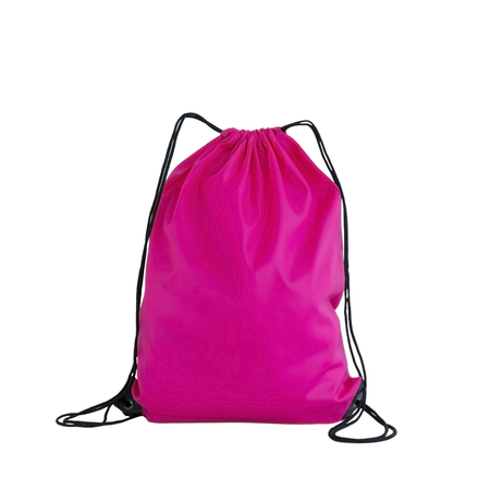 Pink drawstring pack template, bag for sport shoes isolated on white, sport concept