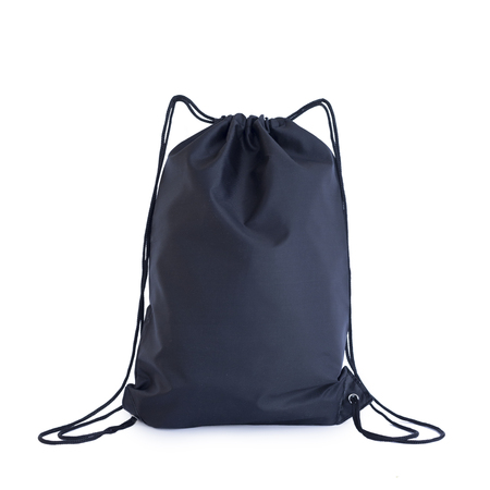 Black drawstring pack template, bag for sport shoes isolated on white, sport concept
