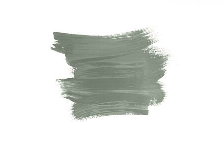 Abstract brush stroke toned tranquil mint green color isolated on white. Top view.