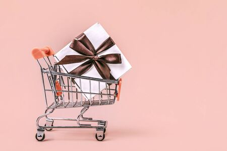 Gift box with brown bow in miniature shopping cart on pastel coral background with copy space. Shopping concept.