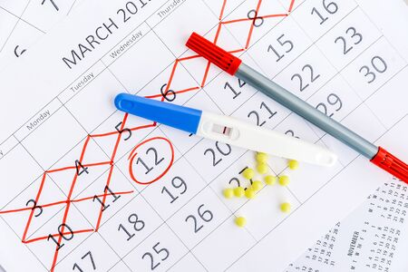 Negative pregnancy test with circling date in calendar. Planning of pregnancy, trying to have baby.