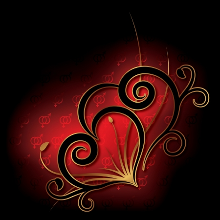 Abstract with heart on a black background. Valentine's day card Vector