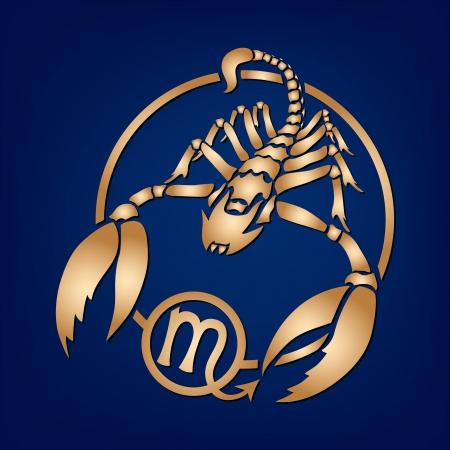 escorpio: Escorpión Signo del Zodiaco en el fondo azul Vectores