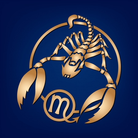 zodiacal sign: Scorpion Zodiac Sign on the blue background