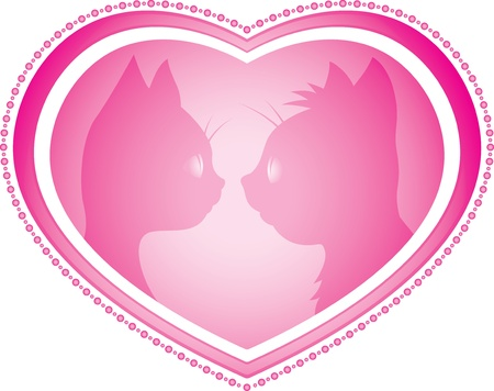 Valentine's day card with cats Stock Vector - 18176238