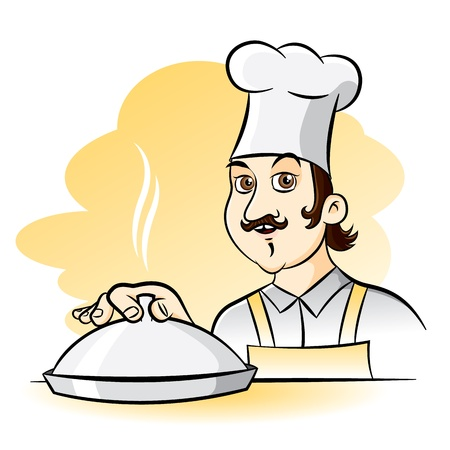 Cheerful Chef Cook, cartoon illustration Vector