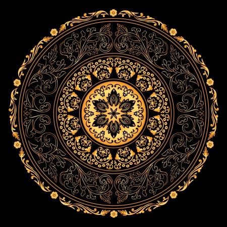 Decorative gold frame with vintage round patterns on black.