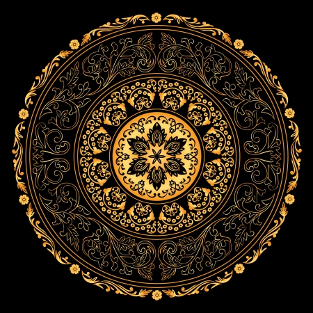 Decorative gold frame with vintage round patterns on black. Stock Vector - 18176245